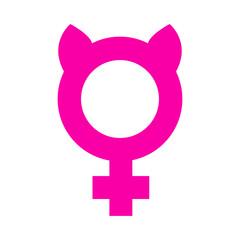 Icono plano femenino con orejas gato en fondo blanco