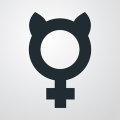 Icono plano femenino con orejas gato en fondo degradado