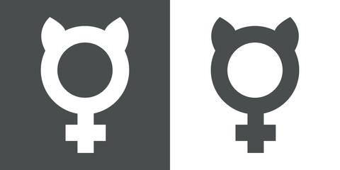 Icono plano femenino con orejas gato gris y blanco
