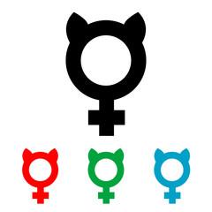 Icono plano femenino con orejas gato varios colores