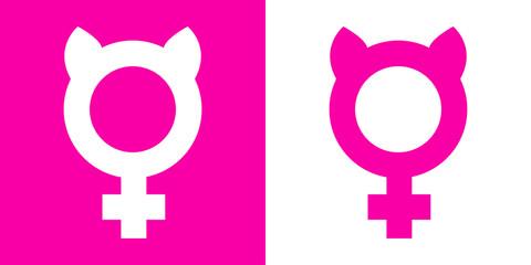 Icono plano femenino con orejas gato rosa y blanco