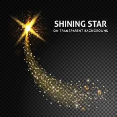 Shining vector star on dark transparent background.Glow light ef