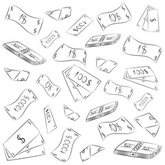 Hand Drawn Banknotes. Doodle Money Rain. Scribble Drawings of Cash. Vector Illustration.