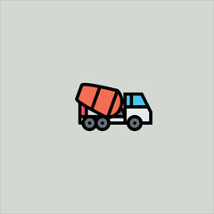 concrete mixer icon flat design