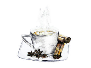 Hand drawn illustration cup of coffee with cinnamon and star anise