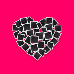 Set square vector photo frames in the form hearts. Isolated on a pink background.