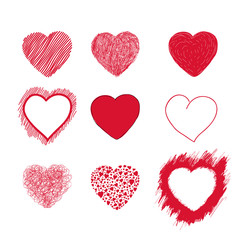 Hearts set. Hand drawn. Vector illustration EPS 10. Isolated on white background.