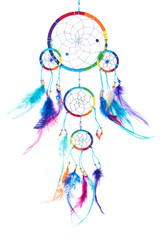 Multi colored dream catcher with feathers, with beads, rim.