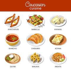 Caucasian or Georgian cuisine menu vector flat icons set