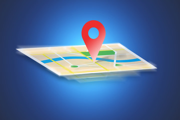 Interactive map isolated on a background - GPS localization concept