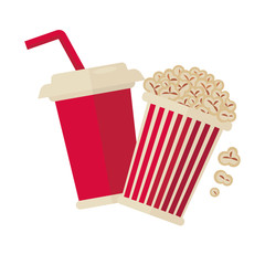 Cinema popcorn and soda drink for movie vector flat icon