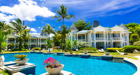 Fototapete - Tropical vacations. Luxury resort with gorgeous swimming pool. Mauritius