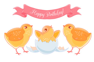 Two funny cartoon chick congratulations newborn yellow chicken.