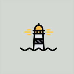 lighthouse icon flat design