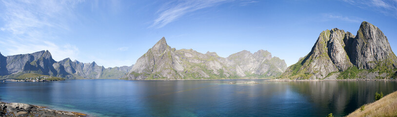 Summer view of Lofoten Islands near Moskenes, Norway