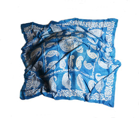 Turkish Oriental beautiful scarves with pictures of natural silk on a white background