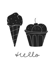 Ice cream cone and ice cream bowl on the white background. Summer hand drawn modern illustration