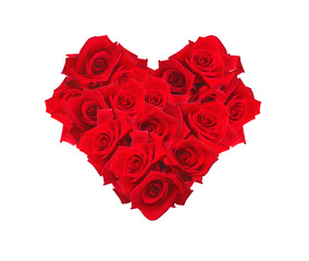 Valentines Day heart made of red roses isolated on white