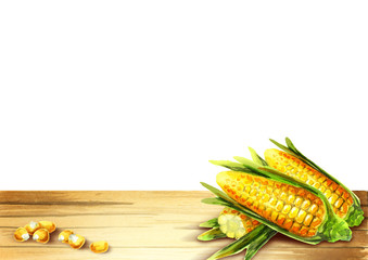 Corn template for your product. Watercolor on a white background