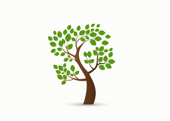 green tree silhouette isolated on white background, vector