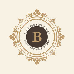 The letter B. Flourishes calligraphic monogram emblem template. Luxury elegant frame ornament line logo design vector illustration. Example designs for Cafe, Hotel, Heraldic, Restaurant, Boutique