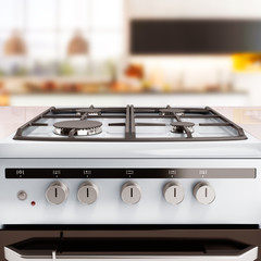 Gas stove 3d render kitchen background