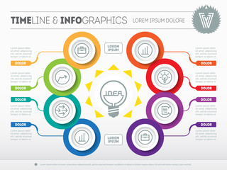 Vector infographic of technology or education process. Business concept with eight options - from idea to final product. Web Template of a circle info chart, diagram.