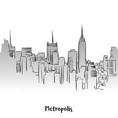 Metropolis Outline Silhouette Card Design