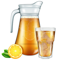 Jar and glass of ice tea with lemon.Vector illustration.