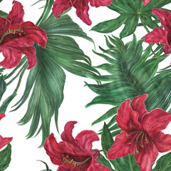 Watercolor painting seamless pattern with beautiful exotic flowers and tropical leaves