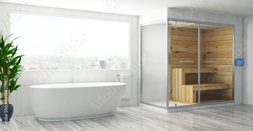 Bagno con vasca e bagno turco, sauna\