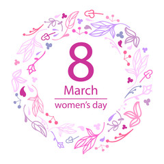 8 March Design card with floral wreath. International Women's Day Background. Vector illustration