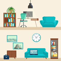 Room interior with furniture. Flat style vector illustration.