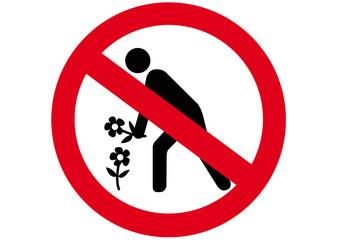 Schild Blumenpflücken verboten