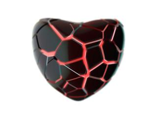 Black broken heart - 3D rendered with depth of field
