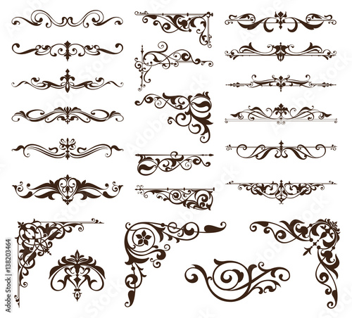 art deco design elements of vintage ornaments and borders corners of