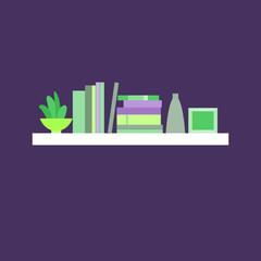 Vector illustration. Bookshelf.