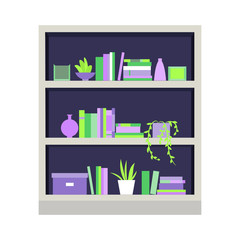 Vector illustration. Bookcase