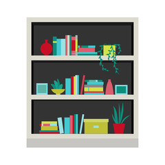 Vector illustration. Bookcase.