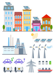 Green City Infographic set elements. Vector illustration with eco Icons. Environment, Ecology Infographic elements. Ecosystem background, banner, diagram, web design, brochure template elements