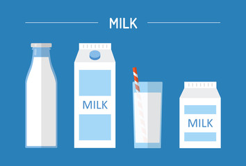 Set of milk in different packages: glass, carton, bottle isolated on blue background. Elements for design dairy products, logo farm, grocery store, health food, etc. Vector flat design illustration.