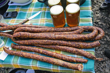 Sausages and honey