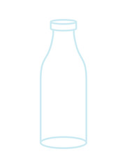 Empty Glass bottle isolated. transparent flask on white background