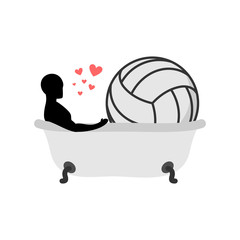 Lover volleyball. Man and ball in bath. Joint bathing. Passion feelings among lovers. Romantic date. love sport game