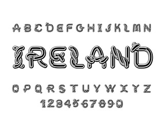 Ireland font. National Celtic alphabet. Traditional Irish ornament letter
