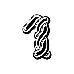Number 1 Celtic font. norse medieval ornament ABC sign one. Traditional ancient manuscripts alphabet
