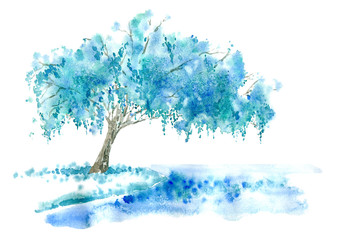 Weeping willow on the lake. Blue tree. Watercolor hand drawn illustration.