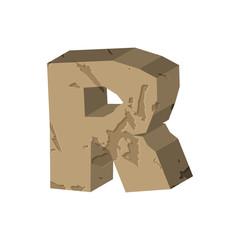Letter R stone font. Rock alphabet symbol. Stones crag ABC sign