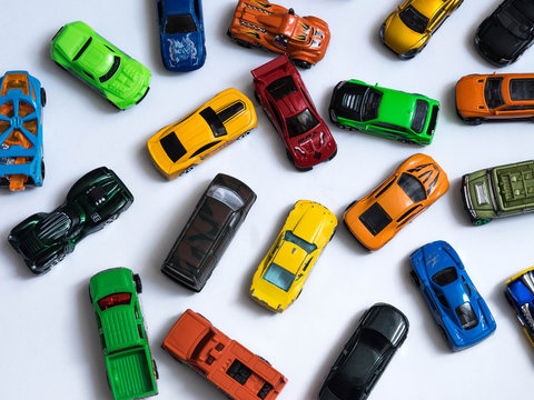 Colorful car toys. Top view.