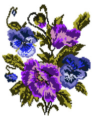 Bouquet of flowers (poppies and pansies) using traditional Ukrainian embroidery elements. Can be used as pixel-art. Violet, blue, green  tones.